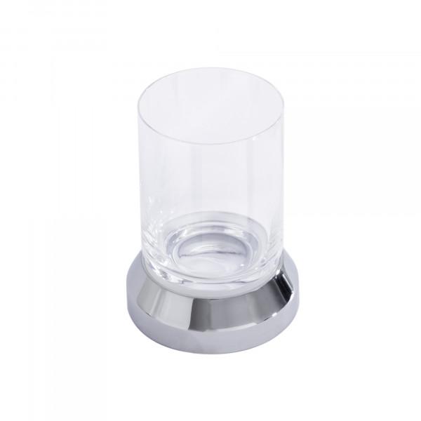 IRIS Glashalter Standmodell mit Bleikristallglas, verchromt