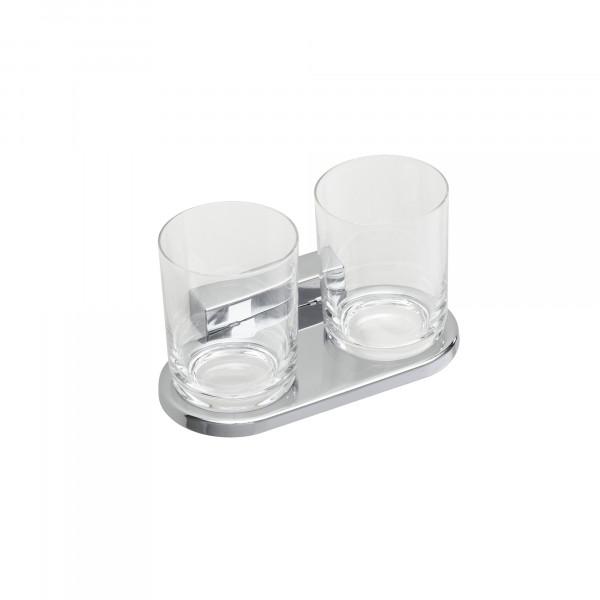 IRIS Doppelglashalter mit Bleikristallglas, verchromt