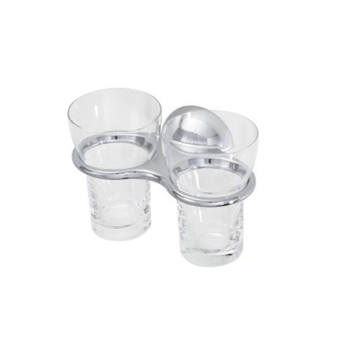 DIVA Doppelglashalter mit Bleikristallglas, verchromt